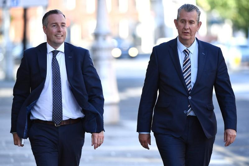 Leader of the Democratic Unionist Party (DUP) Edwin Poots and Paul Givan arrive at Government Buildings in Dublin