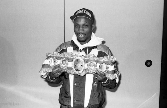 Pernell Whitaker is presented with the Ring belt in 1990. (Photo by: The Ring Magazine via Getty Images)