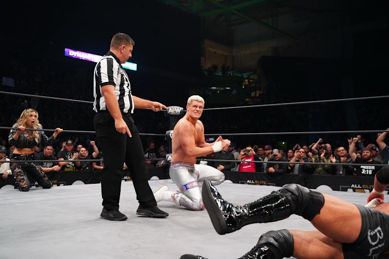 "Cody Rhodes celebrates after winning a tag team match on ""Dynamite."" (Photo credit: All Elite Wrestling)"