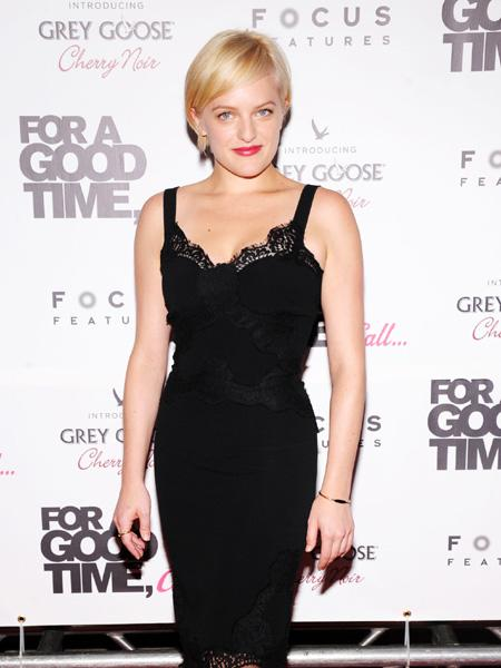 "What would Peggy think? Elisabeth Moss is known for her curly brunette locks on ""Mad Men"" but the star showed up on the red carpet with a fresh new look on August 21. The actress sported a similar hairdo to Miley Cyrus: a peroxide blond pixie cut. (Photo by Jamie McCarthy/WireImage)"
