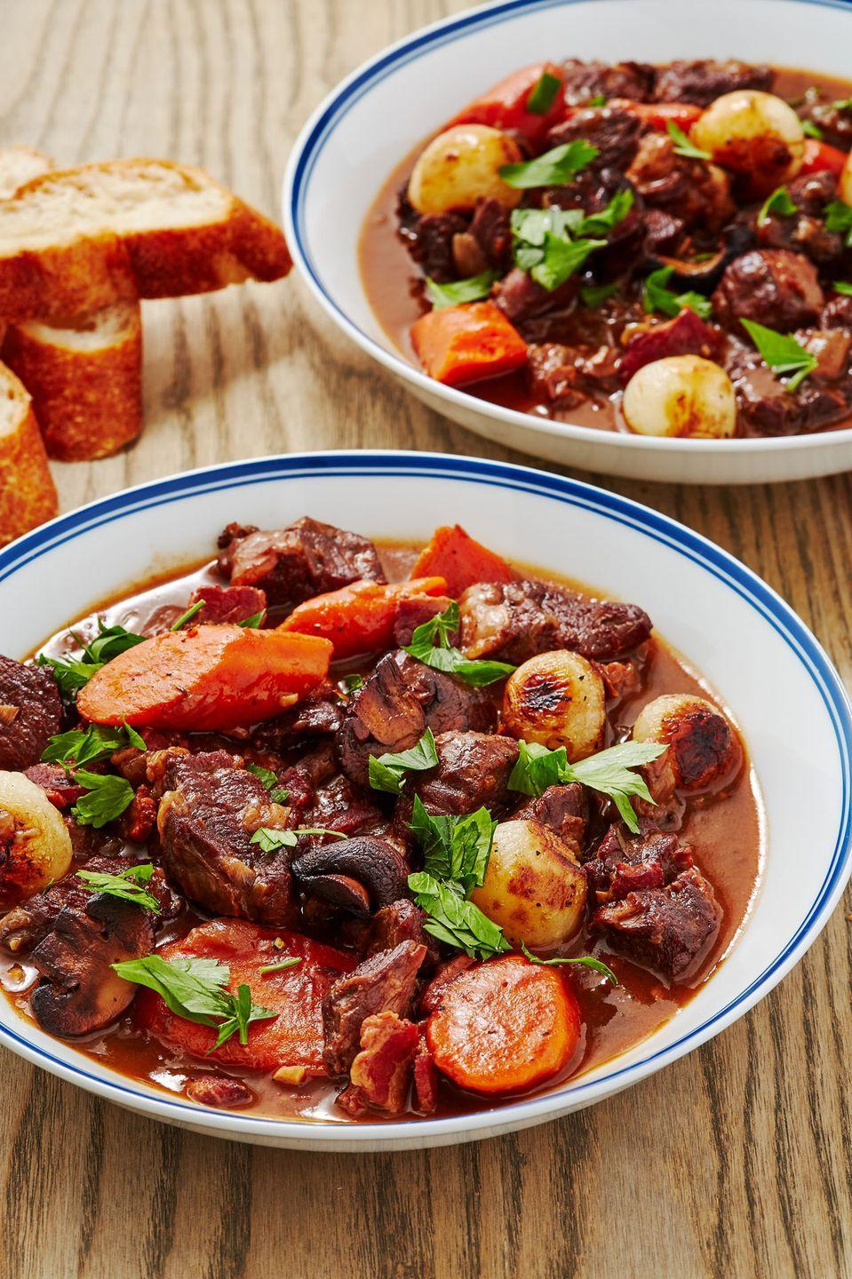 """<p>Made with red wine and pairs perfectly with it too!</p><p>Get the recipe from <a href=""""https://www.delish.com/cooking/recipe-ideas/a28845919/beef-bourguignon-recipe/"""" rel=""""nofollow noopener"""" target=""""_blank"""" data-ylk=""""slk:Delish"""" class=""""link rapid-noclick-resp"""">Delish</a>.</p>"""