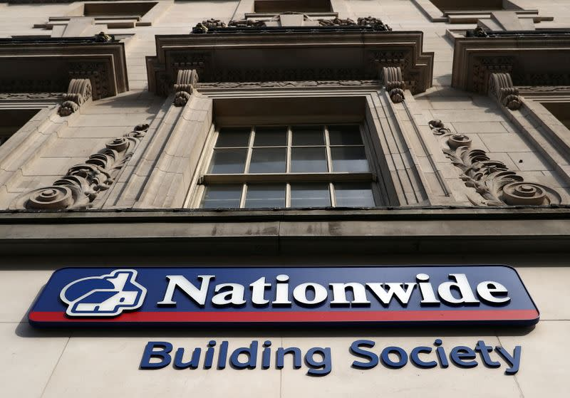 Signage is seen outside of a Nationwide Building Society in London