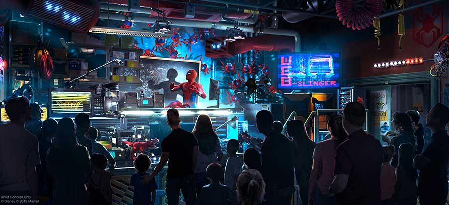Spider-Man leads parkgoers in some superhero training at Avengers Campus (Photo: Disneyland Resorts)