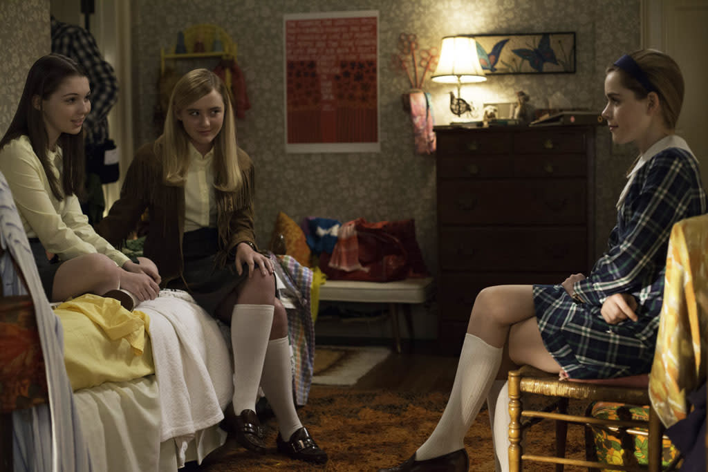 Millicent (Sammi Hanratty), Mandy (Kathryn Love Newton) and Sally Draper (Kiernan Shipka) - Mad Men _ Season 6, Episode 12 _ 'The Quality of Mercy' - Photo Credit: Jordin Althaus/AMC