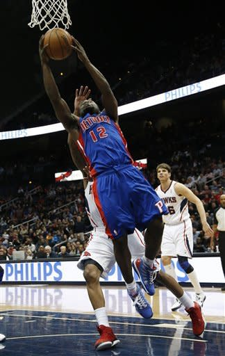 Detroit Pistons point guard Will Bynum (12) goes up for a basket in the second half of an NBA basketball game against the Atlanta Hawks, Wednesday, Dec. 26, 2012, in Atlanta. Atlanta won 126-119 in double overtime. (AP Photo/John Bazemore)
