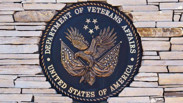 PHOTO: The seal of the United States Department of Veterans Affairs at the entrance to the Santa Fe National Cemetery in Santa Fe, May 27, 2019. (Robert Alexander/Getty Images)
