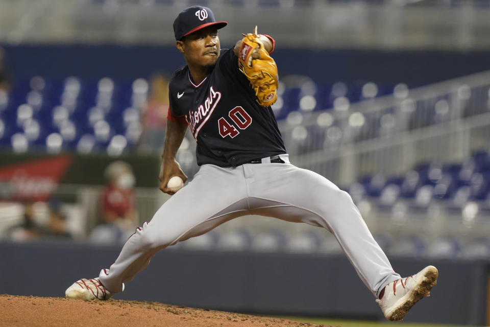 Washington Nationals starting pitcher Josiah Gray (40) throws during the second inning of a baseball game against the Miami Marlins, Wednesday, Sept. 22, 2021, in Miami. (AP Photo/Marta Lavandier)
