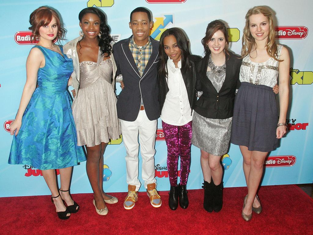 Debby Ryan, Coco Jones, Tyler James Williams, China Anne McClain, Laura Marano and Bridget Mendler attend the 2012-13 Disney Channel Worldwide Kids Upfront at the Hard  Rock Cafe - Times Square on March 13, 2012 in New York City.