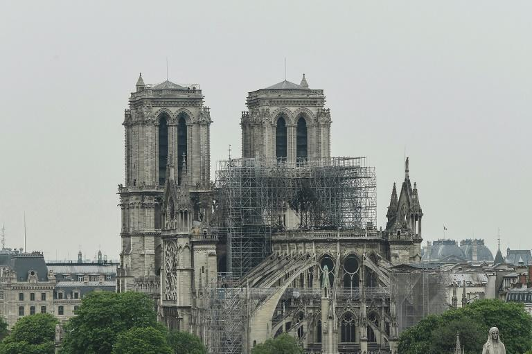 -A picture taken on April 16, 2019 shows Notre-Dame-de-Paris in the aftermath of a fire that devastated the cathedral