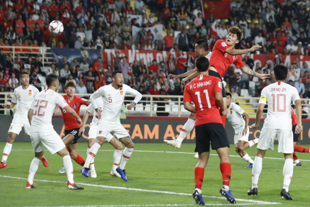 South Korea's defender Kim Min-Jae scores his team's second goal during the AFC Asian Cup group C soccer match between South Korea and China at Al Nahyan Stadium in Abu Dhabi, United Arab Emirates, Wednesday, Jan. 16, 2019. (AP Photo/Hassan Ammar)
