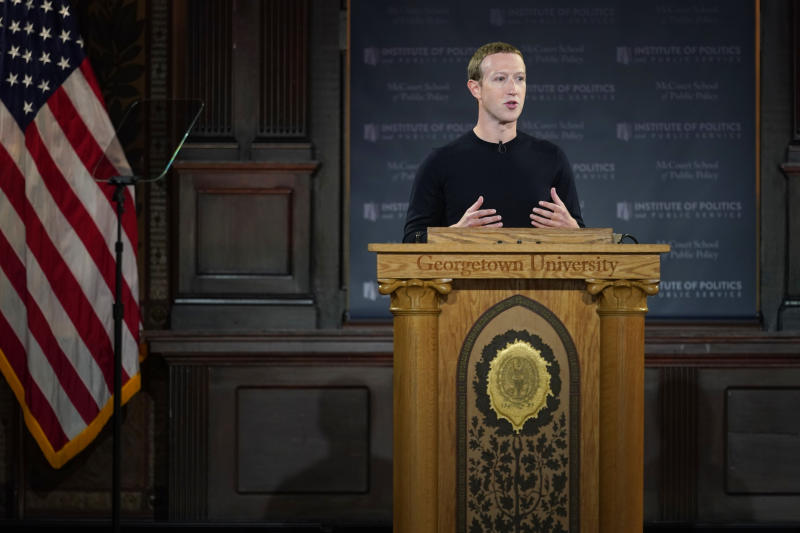 WASHINGTON, DC - OCTOBER 17: Facebook CEO Mark Zuckerberg leads a conversation on free expression at Georgetown University on October 17, 2019 in Washington, DC. The event was hosted by the university's McCourt School of Public Policy and its Institute of Politics and Public Service (GU Politics). (Photo by Riccardo Savi/Getty Images for Facebook)