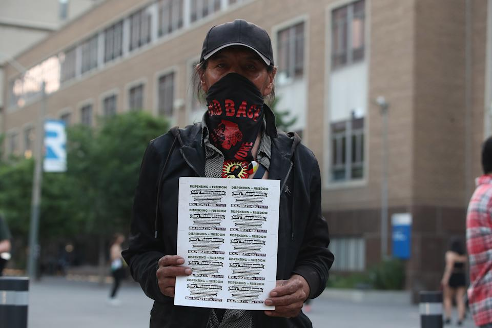 <p>Protesters calling for the investigation of first Nations children that died in residential schools have pulled down the statue of Egerton Ryerson on the Ryerson University campus. (Steve Russell/Toronto Star via Getty Images)</p>