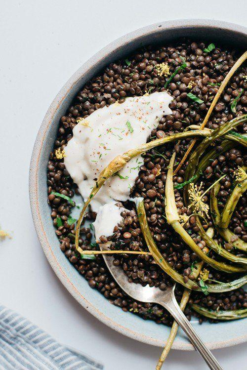 """<strong>Get the <a href=""""http://www.dollyandoatmeal.com/blog/2015/6/herbed-beluga-lentils-w-garlic-scapes-yogurt-sauce"""" target=""""_blank"""">Herbed Black Beluga Lentils with Garlic Scapes and Yogurt Sauce recipe</a>fromDolly and Oatmeal</strong>"""