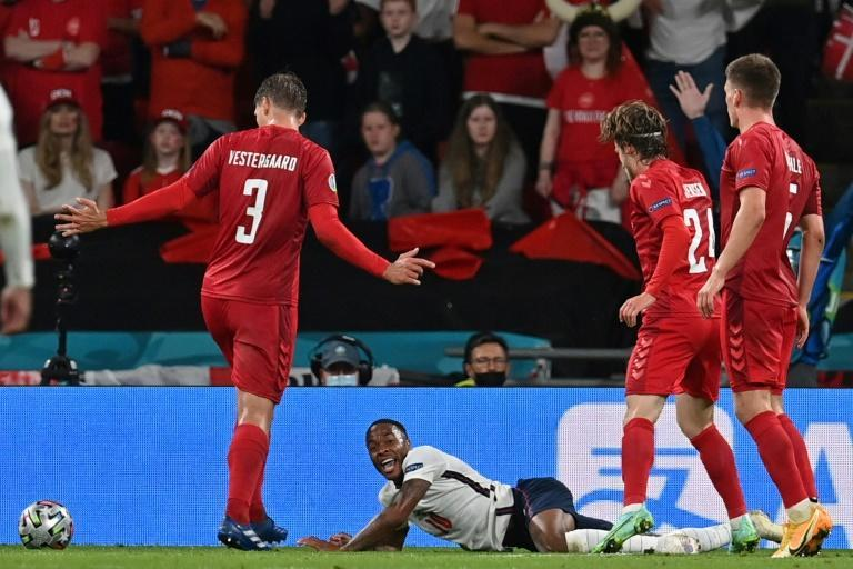 Dubious decision: Raheem Sterling (C)won the decisive penalty in England's Euro 2020 semi-final victory over Denmark