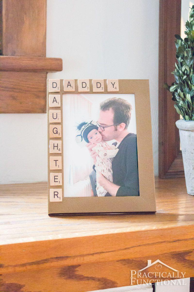 """<p>With just a picture frame, <a href=""""https://www.amazon.com/DSYJ-Scrabble-Tiles-100-Letter/dp/B003G5R3G0?tag=syn-yahoo-20&ascsubtag=%5Bartid%7C10055.g.19694848%5Bsrc%7Cyahoo-us"""" rel=""""nofollow noopener"""" target=""""_blank"""" data-ylk=""""slk:Scrabble letters"""" class=""""link rapid-noclick-resp"""">Scrabble letters</a>, a hot glue gun, and some craft paint, you'll have a picture-perfect present for dad in under 15 minutes. </p><p><em><a href=""""https://www.practicallyfunctional.com/10-minute-fathers-day-picture-frame/"""" rel=""""nofollow noopener"""" target=""""_blank"""" data-ylk=""""slk:Get the tutorial from Practically Functional »"""" class=""""link rapid-noclick-resp"""">Get the tutorial from Practically Functional »</a></em></p>"""