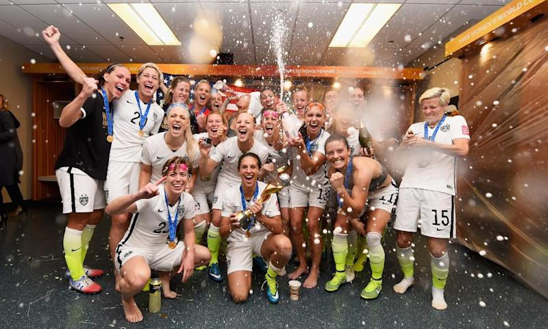 USA celebrate after winning the 2015 World Cup in Vancouver.