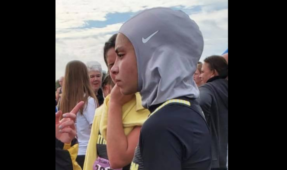 Noor Abukaram, a 16-year-old high school junior, was disqualified at a district cross-country meet on Saturday for wearing a hijab. (Photo: Zobaida Falah via Facebook)