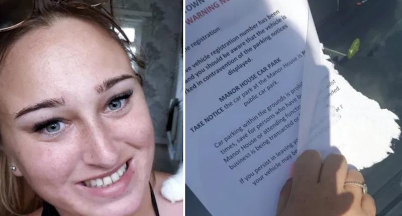 Danielle Robberts and the parking notice she found glued to her windscreen.