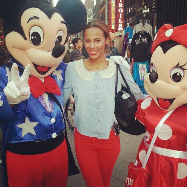 "Celebrity photos: Rochelle Wiseman and the rest of The Saturdays are enjoying their time in America so much that they've even gone to all the tourist sights in New York. Rochelle tweeted this cute photo of herself in Times Square, alongside the caption: ""Mickey, Rochy and Minnie"""