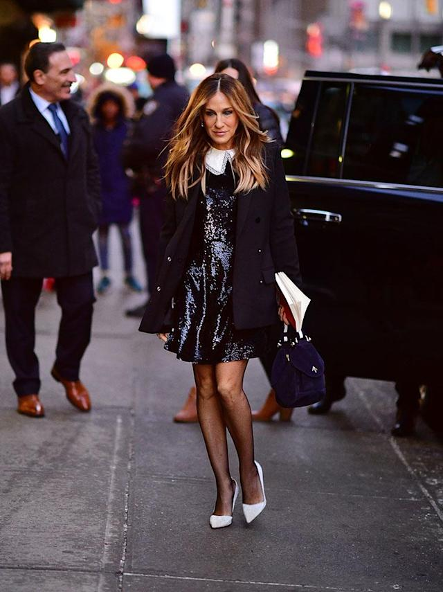 <p>The <em>Divorce</em> star was giving us major Carrie Bradshaw vibes while looking picture-perfect and very New York City glam as she arrived at <em>The Late Show With Stephen Colbert</em> on Wednesday. (Photo: James Devaney/GC Images) </p>