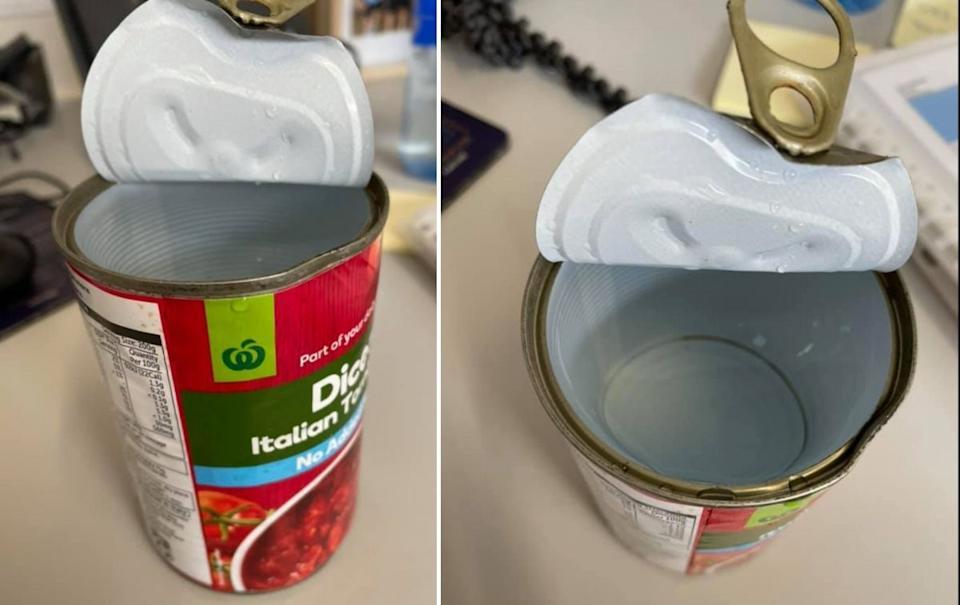 A Woolworths shopper was baffled when she opened a tin of tomatoes that contained no tomatoes. Source: Facebook.
