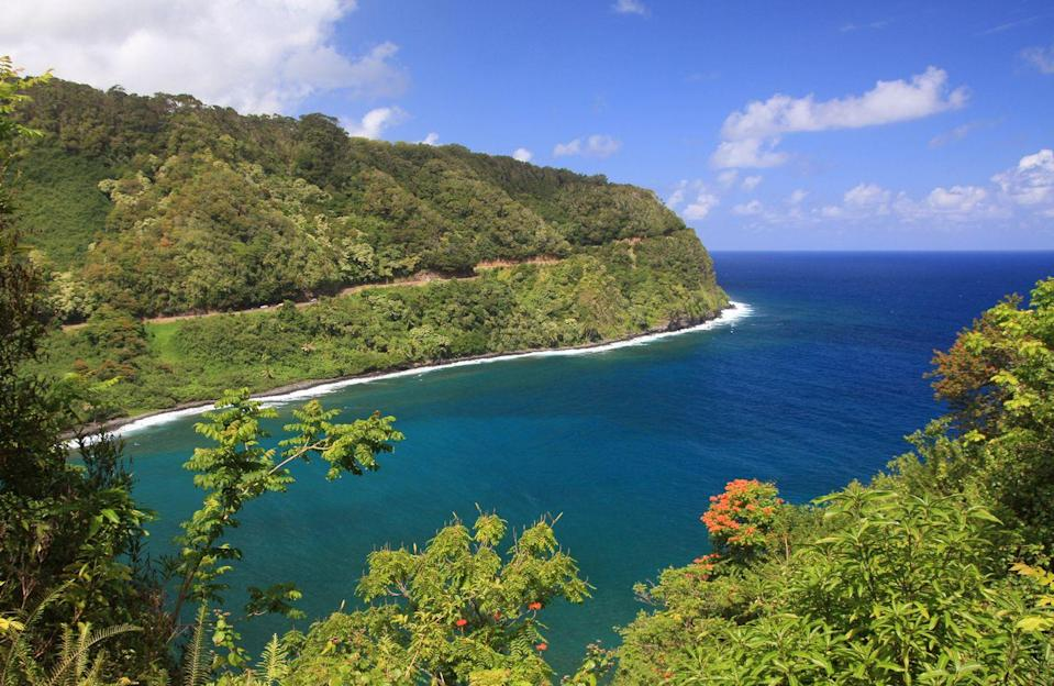 """<p><strong>The Drive:</strong> <a href=""""https://www.tripadvisor.com/Attraction_Review-g29220-d106115-Reviews-Hana_Highway_Road_to_Hana-Maui_Hawaii.html"""" rel=""""nofollow noopener"""" target=""""_blank"""" data-ylk=""""slk:Hana Highway"""" class=""""link rapid-noclick-resp"""">Hana Highway</a></p><p><strong>The Scene:</strong> Journey around Maui, Hawaii from <a href=""""https://www.tripadvisor.com/Tourism-g60631-Kahului_Maui_Hawaii-Vacations.html"""" rel=""""nofollow noopener"""" target=""""_blank"""" data-ylk=""""slk:Kahului"""" class=""""link rapid-noclick-resp"""">Kahului</a> to <a href=""""https://www.tripadvisor.com/Tourism-g60630-Hana_Maui_Hawaii-Vacations.html"""" rel=""""nofollow noopener"""" target=""""_blank"""" data-ylk=""""slk:Hana"""" class=""""link rapid-noclick-resp"""">Hana</a> on this 2.5 hour, 52-mile trip while you take in the gorgeous tropics and ocean views.</p><p><strong>The Pit-Stop:</strong> You'll want to take a quick break from your travels to take a closer look at <a href=""""https://www.tripadvisor.com/Attraction_Review-g60623-d546344-Reviews-Wailua_Falls-Lihue_Kauai_Hawaii.html"""" rel=""""nofollow noopener"""" target=""""_blank"""" data-ylk=""""slk:Wailua Falls"""" class=""""link rapid-noclick-resp"""">Wailua Falls</a>, one of several waterfalls featured on the route.</p>"""