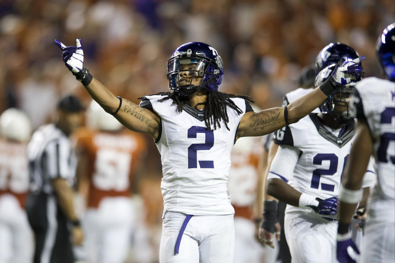 AUSTIN, TX - NOVEMBER 22:  Jason Verrett #2 of the TCU Horned Frogs celebrates after an interception that lead to the TCU victory over the Texas Longhorns on November 22, 2012 at Darrell K Royal-Texas Memorial Stadium in Austin, Texas.  (Photo by Cooper Neill/Getty Images)