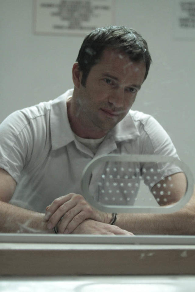 "In a flashback episode, Joe Carroll (James Purefoy) meets with one of his followers in the ""Love Hurts"" episode of ""The Following."""