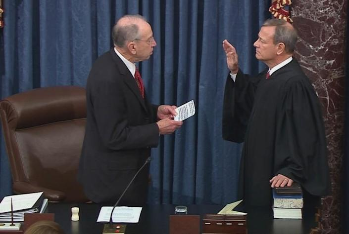 Chief Justice Roberts is sworn in to preside over impeachment trial of President Trump at the U.S. Capitol in Washington