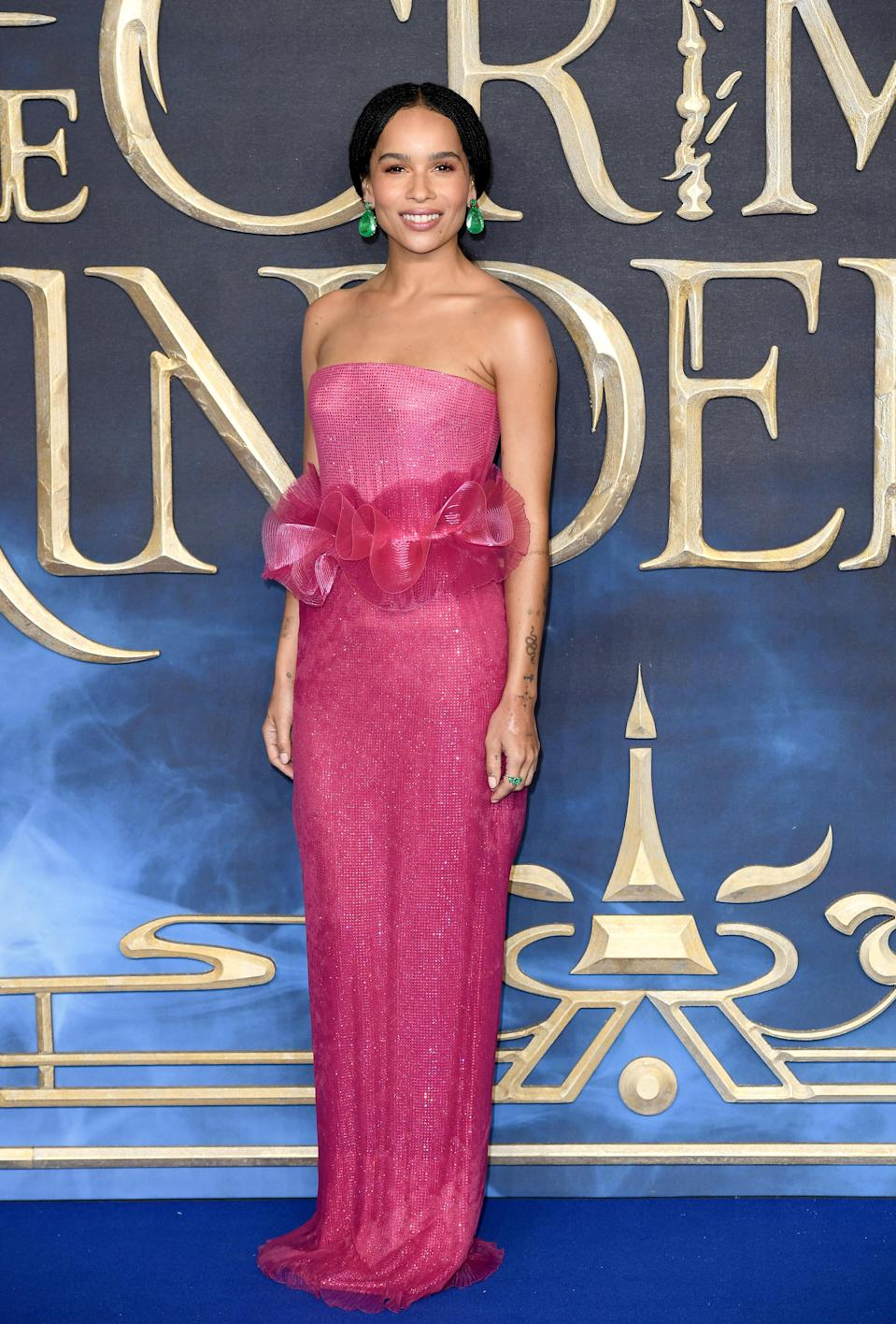 <p>Zoe stunned in pink Armani Prive on the red carpet at the UK premiere of 'Fantastic Beasts: The Crimes Of Grindelwald' at Cineworld Leicester Square in London. <em>[Photo: Getty]</em> </p>