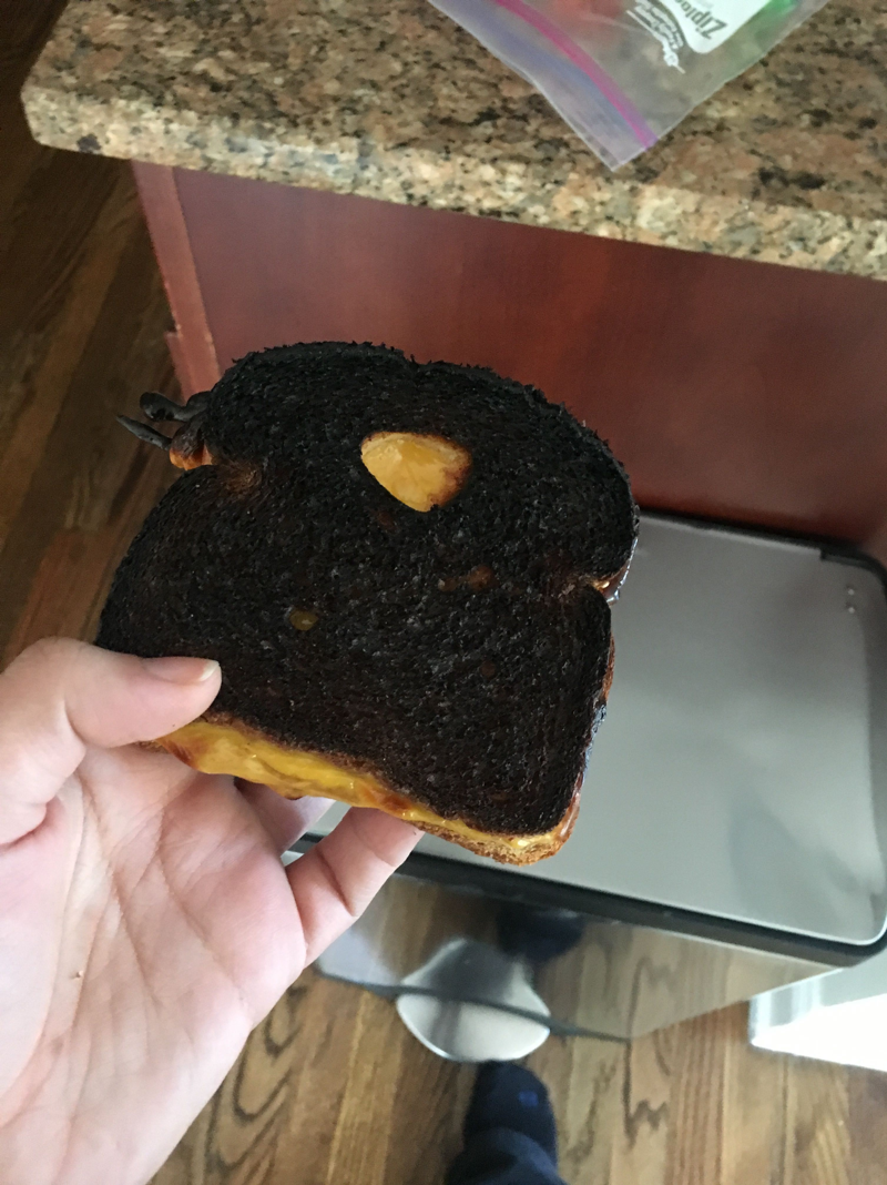 """<p>After burning grilled cheese the first time, a babysitter comes back a year later to babysit again and Sloane goes, """"Cheshy, are you gonna make the black sandwich again?"""" </p>"""