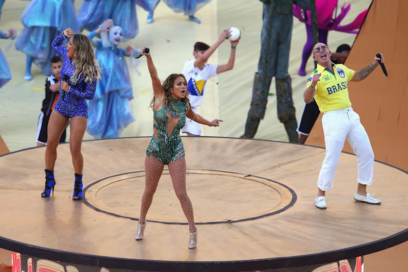 Claudia Leitte, Jennifer Lopez e Pitbull (Foto: Elsa/Getty Images)
