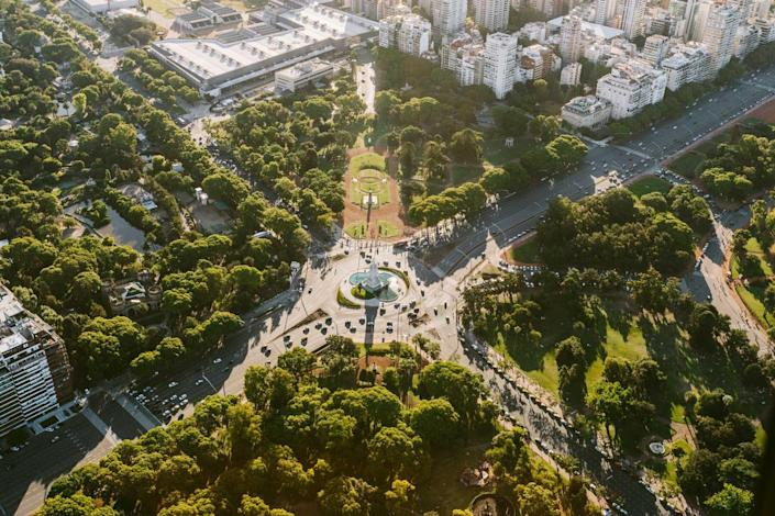 Buenos Aires Cityscape, Monument to La Carta Magna and the Four Regions
