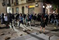Protest against new restrictions amidst the coronavirus disease (COVID-19) outbreak in Barcelona