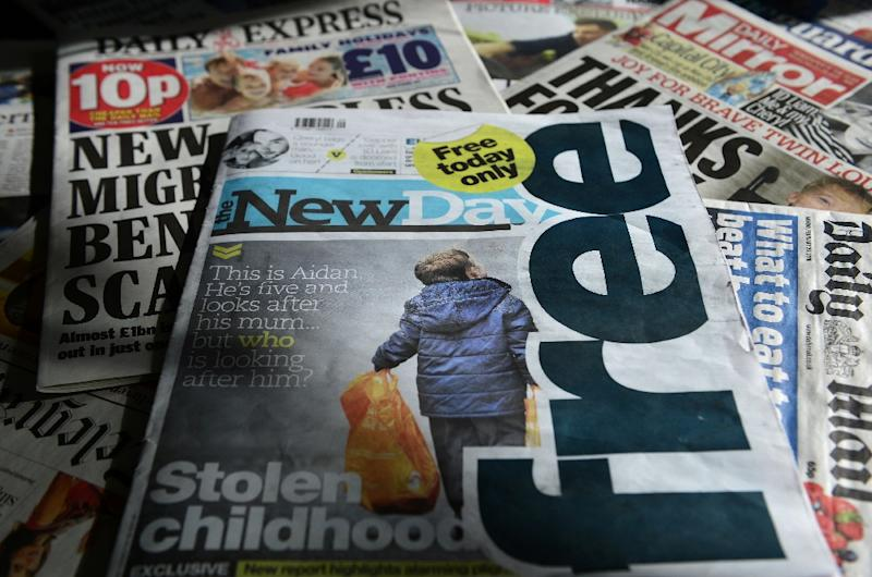 The first edition of The New Day, a new British daily newspaper, pictured on February 29, 2016, the day of its launch