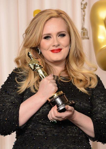 PHOTO: Adele, winner of the Best Original Song award for 'Skyfall,' poses in the press room during the Oscars, Feb. 24, 2013, in Hollywood, Calif.   (Jason Merritt/Getty Images)