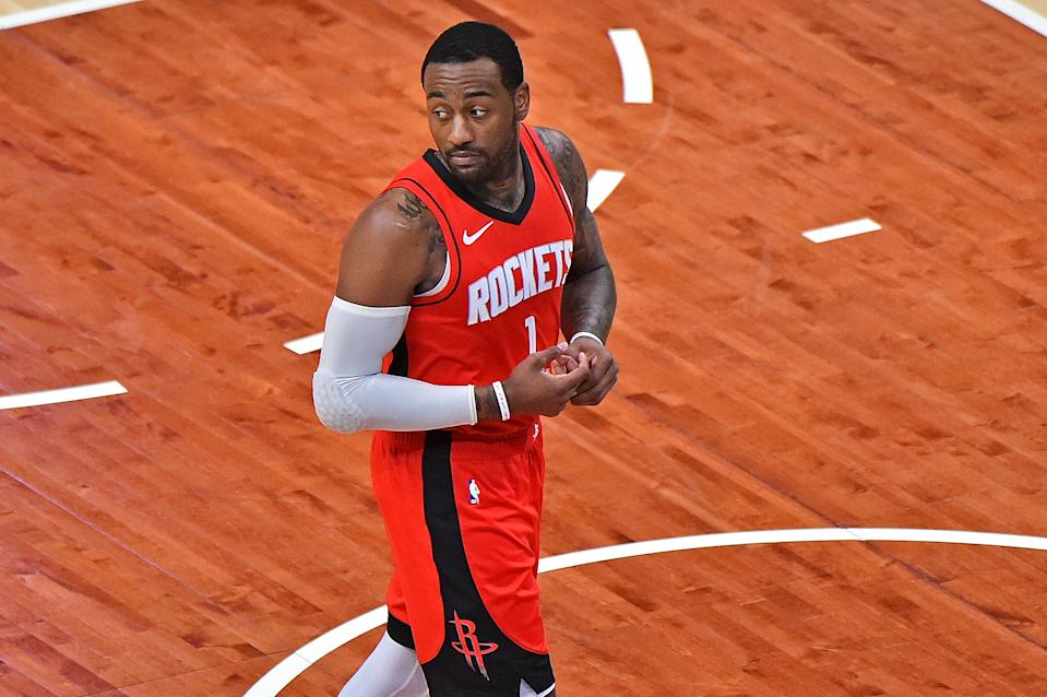 John Wall looks over his shoulder during a Houston Rockets game against the Memphis Grizzlies.