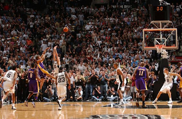 "<a class=""link rapid-noclick-resp"" href=""/nba/teams/la-lakers/"" data-ylk=""slk:Lakers"">Lakers</a> guard Derek Fisher beat the buzzer by an instant, but the Spurs maintain he did not beat the clock. (Andrew D. Bernstein/NBAE via Getty Images)"