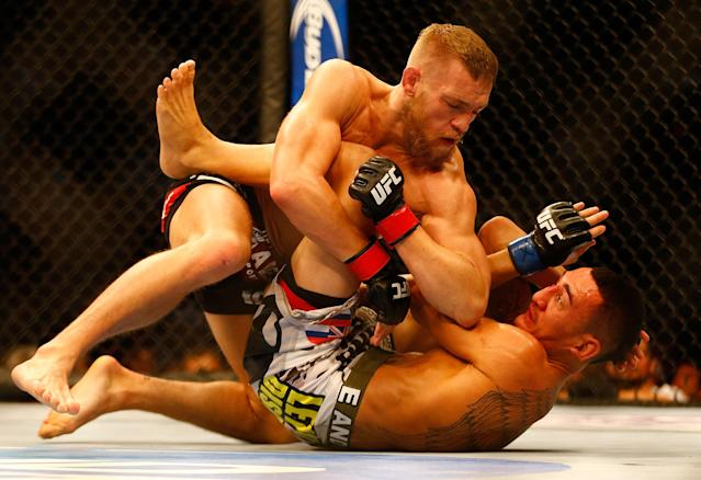 <p>This fight would be a dream match now, as Holloway has become the featherweight champion and is one of the best pound-for-pound fighters in the world. At the time, it was McGregor's second UFC bout and Holloway was just 21 years old. McGregor injured his knee in the bout but still managed to pull out a unanimous decision victory. </p>