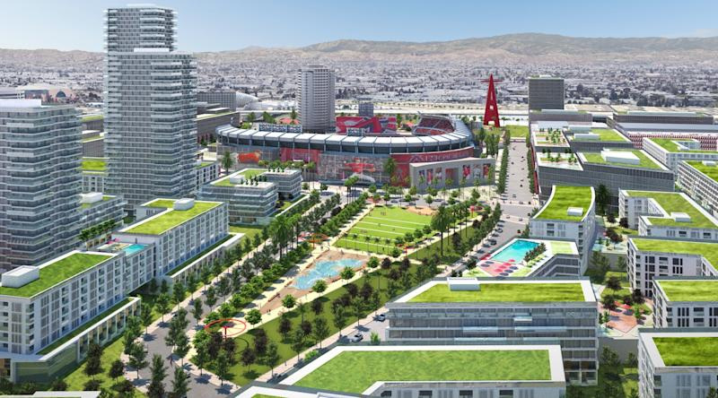An artist's rendering of the proposed changes coming to Angel Stadium.