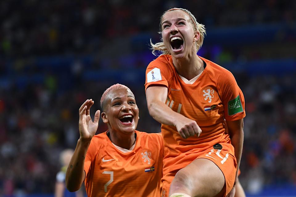 Netherlands' midfielder Jackie Groenen celebrates after scoring a goal during the France 2019 Women's World Cup semi-final football match between the Netherlands and Sweden, on July 3, 2019, at the Lyon Stadium in Decines-Charpieu, central-eastern France. (Photo by Franck Fife/AFP/Getty Images)