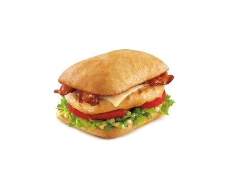 The Asiago Caesar Chicken Club is available with grilled or crispy all white-meat chicken on a soft ...