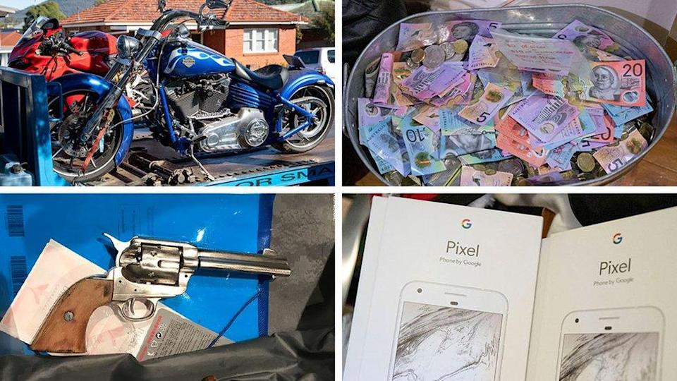 Composite photo shows items seized in the messaging app sting, including cash and a motorbike