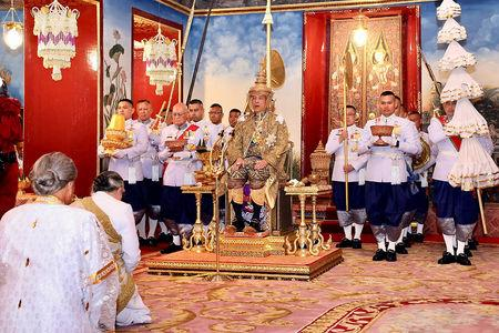 Thailand's King Maha Vajiralongkorn is crowned during his coronation inside the Grand Palace in Bangkok, Thailand, May 4, 2019. The Committee on Public Relations of the Coronation of King Rama X/Handout via REUTERS