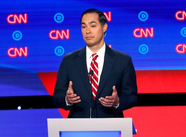 PHOTO: Former Housing the Urban Development Secretary Julian Castro participates in the second of two Democratic presidential primary debates, July 31, 2019, in Detroit. (Paul Sancya/AP)