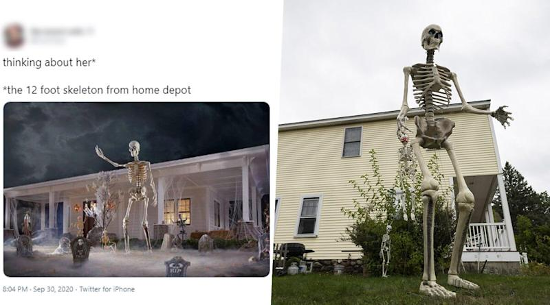 12-Foot Home Depot Skeleton Pics and Funny Memes Float Online as People Are Obsessed With The Giant Skeletal Decorations For Halloween 2020