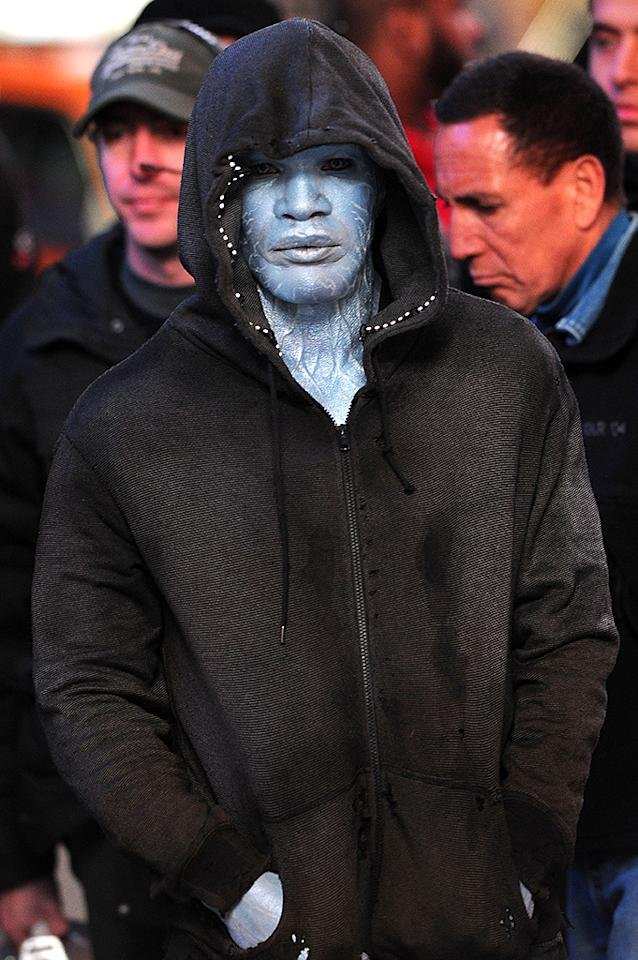 Jamie Foxx on location in Times Square for 'The Amazing Spider-Man 2'. Pictured: Jamie Foxx  Ref: SPL527053  150413  Picture by: Doug Meszler / Splash News   Splash News and Pictures Los Angeles:310-821-2666 New York:212-619-2666 London:870-934-2666 photodesk@splashnews.com