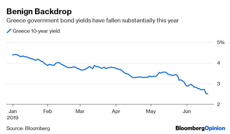 (Bloomberg Opinion) -- Who knew there was investor appetite for subordinated Greek bank debt?Because of the relentless hunt for returns in yield-starved Europe, Piraeus Bank SA, one of Greece's big four lenders, has been able to brave the European capital markets for the first time since the financial crisis.Piraeus isn't opting for senior bonds, and is instead plumping for Tier 2 subordinated debt (which sits midway in the capital structure between top-rated debt and equity-like capital). This means the notes would be fully subject to investor bail-in rules, where bondholders take a financial hit should the bank fail.While the bank has been bolstering capital by offloading bad loans and selling assets, this issue will help it meet its commitments to the European Central Bank. Last year, the ECB asked the company to raise much as 500 million euros ($560 million) as part of its strategic recovery plan. It's notable, nonetheless, that the lender has found plenty of takers despite all the well-known risks around the Greek banking system.Piraeus has raised 400 million euros from the 10-year subordinated security, with an issuer call option after five years. The very high 9.75% coupon was clearly attractive to buyers, but it carries danger signs too. Paying that much interest to bondholders will be a heavy burden for the bank's business to support.Indeed, this might be a deal too far for wiser investment heads (regardless of all the hedge funds piling in here). Just because government yields are plunging doesn't mean credit risk is improving; it usually means the opposite. In fairness, this issue is for bank capital specialists only but there's always a deal that corrects the market's over-enthusiasm for the diciest assets.The offer would have been unthinkable a year ago, and comes courtesy of a sustained decline in Greek sovereign yields, with five-year yields falling below their Italian equivalents, and a sixfold rally in Piraeus Bank's share price since February. It helps that imminent national elections are expected to deliver victory to the pro-business New Democracy Party. For Piraeus, it makes sense to strike now and the books were more than twice covered.Still, a big leap of faith is required to believe that that this ultra-high risk, CCC-rated junk bond will be repaid at that call date in five years time. Investors won't want a repeat of what happened when Italy's Banca Monte dei Paschi di Siena SpA issued a similar bond in January 2018. That now trades at close to half its initial value. Piraeus's non-performing loans make up more than half of its total lending, despite its offloading of 500 million euros of them to private equity buyers this month. Even after the share price rally, the stock only trades at a price-to-book ratio of less than 0.2. The path to easing the bad debt burden will be arduous.As part of Piraeus's strategic plan, the bank sees non-performing loans dropping to about 9% of the total by 2023, which requires the elimination of 21 billion euros of exposure. It has signed an agreement with Intrum AB, a Swedish debt collection specialist, to help manage its bad debt pile. However, the speed at which Greece's lenders will be able to clean up their loan books is uncertain. The government and the Greek central bank have two separate, not entirely complementary, initiatives to help banks do this but they're still obtaining European Union approvals.Piraeus's plan to improve its fee income by 33% by 2023 looks ambitious too. As the biggest private lender to SMEs in Greece, its growth is tied ultimately to the country's nascent economic recovery. A shareholder group that includes the EU-backed Hellenic Financial Stability Fund – as well as John Paulson, Vanguard, Blackrock Inc. and Schroders Plc – offers some reassurance. While success would be another important milestone in Greece's long road to recovery, you'll have needed nerves of steel to jump on this one.To contact the authors of this story: Marcus Ashworth at mashworth4@bloomberg.netElisa Martinuzzi at emartinuzzi@bloomberg.netTo contact the editor responsible for this story: James Boxell at jboxell@bloomberg.netThis column does not necessarily reflect the opinion of the editorial board or Bloomberg LP and its owners.Marcus Ashworth is a Bloomberg Opinion columnist covering European markets. He spent three decades in the banking industry, most recently as chief markets strategist at Haitong Securities in London.Elisa Martinuzzi is a Bloomberg Opinion columnist covering finance. She is a former managing editor for European finance at Bloomberg News.For more articles like this, please visit us at bloomberg.com/opinion©2019 Bloomberg L.P.