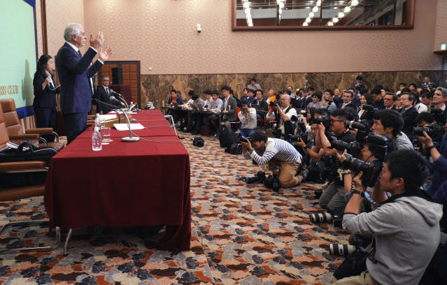 Former Japanese men's national soccer coach Vahid Halilhodzic speaks during his press conference in Tokyo Friday, April 27, 2018. Japan fired Halilhodzic two months before soccer World Cup in Russia and replaced him immediately with Japanese Akira Nishino. (AP Photo/Eugene Hoshiko)