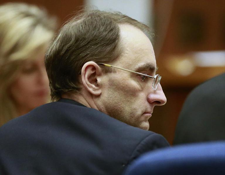 Christian Karl Gerhartsreiter listens during final arguments at his trial at Clara Shortridge Foltz Criminal Justice Center in Los Angeles Monday, April 8, 2013. Closing arguments have begun in the Los Angeles trial of Gerhartsreiter, a notorious Rockefeller impostor charged with murdering a man in 1985. (AP Photo/Damian Dovarganes)
